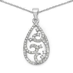 0.56 Carat Genuine White Diamond .925 Sterling Silver Pendant