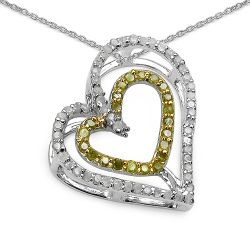 0.51 Carat Genuine White Diamond & Yellow Diamond .925 Sterling Silver Pendant