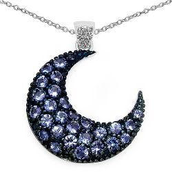 2.23 Carat Genuine Tanzanite and White Zircon .925 Sterling Silver Pendant