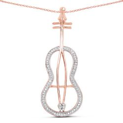 14K Rose Gold Plated 0.25 Carat Genuine White Diamond .925 Sterling Silver Pendant