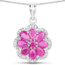 3.83 Carat Genuine Ruby and White Zircon .925 Sterling Silver Pendant
