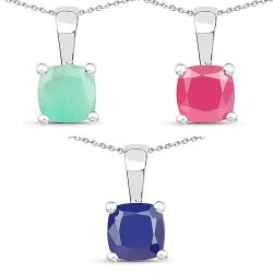 3.00 Carat Genuine Emerald, Glass Filled Ruby & Glass Filled Sapphire .925 Sterling Silver Pendant