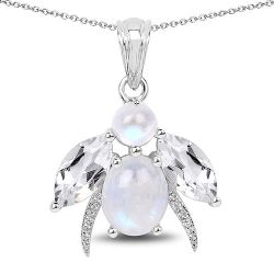 7.43 Carat Genuine White Rainbow Moonstone, Crystal Quartz and White Topaz .925 Sterling Silver Pendant