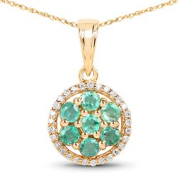 0.58 Carat Genuine Zambian Emerald and White Diamond 14K Yellow Gold Pendant