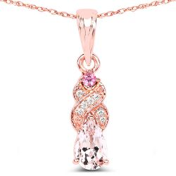 0.43 Carat Genuine Morganite, Pink Tourmaline & White Diamond 14K Rose Gold Pendant