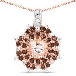 """18K Rose Gold Plated 1.61 Carat Genuine Morganite, Smoky Quartz and White Zircon .925 Sterling Silver Pendant"""