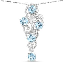 3.11 Carat Genuine Blue Topaz and White Diamond .925 Sterling Silver Pendant