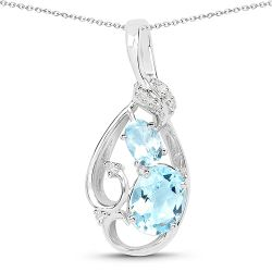 2.57 Carat Genuine Blue Topaz and White Diamond .925 Sterling Silver Pendant