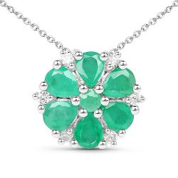 1.96 Carat Genuine Emerald and White Zircon .925 Sterling Silver Pendant