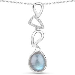 3.29 Carat Genuine Labradorite And White Topaz .925 Sterling Silver Pendant