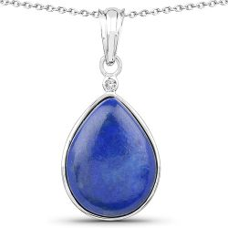 9.72 Carat Genuine Lapis And White Topaz .925 Sterling Silver Pendant