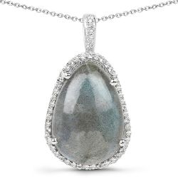 8.65 Carat Genuine Labradorite And White Topaz .925 Sterling Silver Pendant