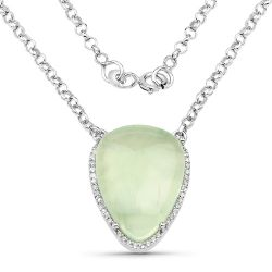 10.77 Carat Genuine Prehnite And White Topaz .925 Sterling Silver Pendant
