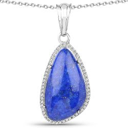 7.72 Carat Genuine Lapis And White Topaz .925 Sterling Silver Pendant