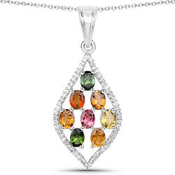 1.64 Carat Genuine Multi Tourmaline and White Zircon .925 Sterling Silver Pendant