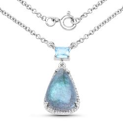"""5.49 Carat Genuine Labradorite, Blue Topaz and White Topaz .925 Sterling Silver Pendant"""