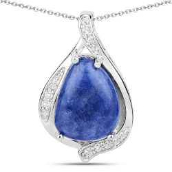 2.39 Carat Genuine Blue Aventurine and White Topaz .925 Sterling Silver Pendant