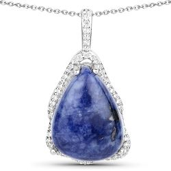5.81 Carat Genuine Blue Aventurine and White Topaz .925 Sterling Silver Pendant