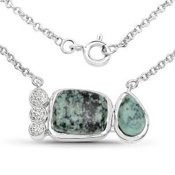 7.25 Carat Genuine Green Jasper and White Topaz .925 Sterling Silver Pendant