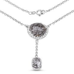 5.81 Carat Genuine Black Rutile and White Topaz .925 Sterling Silver Pendant