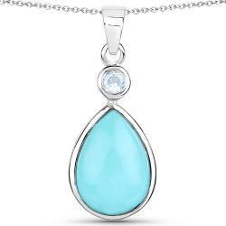 3.62 Carat Genuine Turquoise and Blue Topaz .925 Sterling Silver Pendant