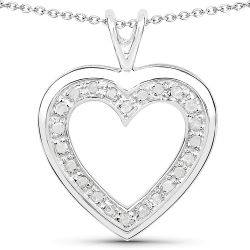 0.18 Carat Genuine White Diamond .925 Sterling Silver Pendant