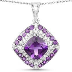 5.32 Carat Genuine Amethyst and White Zircon .925 Sterling Silver Pendant