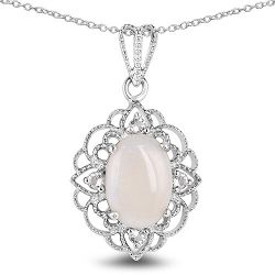 3.52 Carat Genuine Opal and White Topaz .925 Sterling Silver Pendant