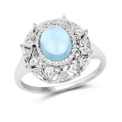 2.10 Carat Genuine Blue Topaz .925 Sterling Silver Ring