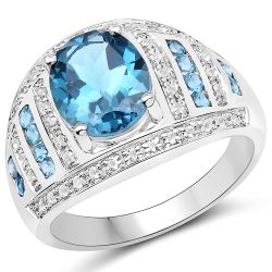3.24 Carat Genuine London Blue Topaz and White Topaz .925 Sterling Silver Ring