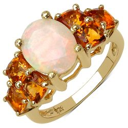 14K Yellow Gold Plated 3.30 Carat Genuine Ethiopian Opal and Citrine .925 Sterling Silver Ring