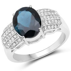 4.48 Carat Genuine London Blue Topaz and White Topaz .925 Sterling Silver Ring