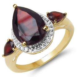 14K Yellow Gold Plated 3.50 Carat Genuine Garnet .925 Sterling Silver Ring