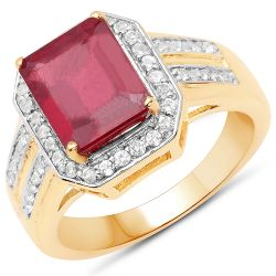 14K Yellow Gold Plated 4.61 Carat Glass Filled Ruby and White Topaz .925 Sterling Silver Ring