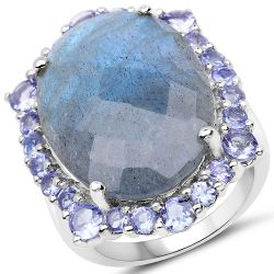 13.99 Carat Genuine Labradorite and Tanzanite .925 Sterling Silver Ring