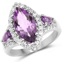 3.20 Carat Genuine Amethyst & White Topaz .925 Sterling Silver Ring