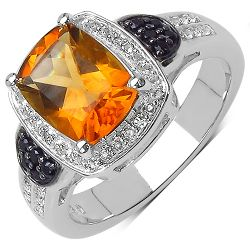 1.95 Carat Genuine Citrine, Black Spinel & White Topaz .925 Sterling Silver Ring