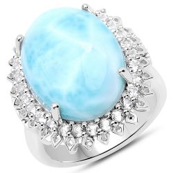 17.62 Carat Genuine Larimar and White Topaz .925 Sterling Silver Ring