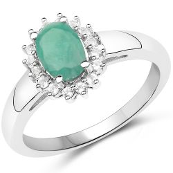 0.89 Carat Genuine Emerald and White Topaz .925 Sterling Silver Ring