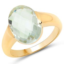 14K Yellow Gold Plated 5.10 Carat Genuine Green Amethyst .925 Sterling Silver Ring