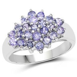 1.61 Carat Genuine Tanzanite .925 Sterling Silver Ring