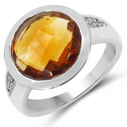 8.36 Carat Genuine Citrine & White Topaz .925 Sterling Silver Ring