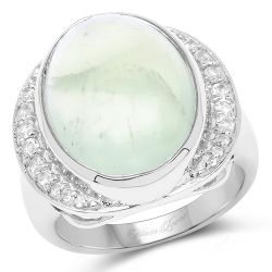 11.50 Carat Genuine Prehnite And White Topaz .925 Sterling Silver Ring
