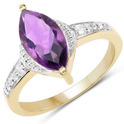 14K Yellow Gold Plated 1.45 Carat Genuine Amethyst & White Topaz .925 Sterling Silver Ring