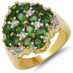 18K Yellow Gold Plated 2.80 Carat Genuine Chrome Diopside & White Topaz .925 Sterling Silver Ring