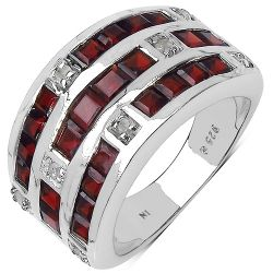 3.48 Carat Genuine Garnet & White Diamond .925 Sterling Silver Ring
