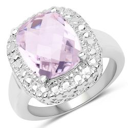 3.91 Carat Genuine Pink Amethyst .925 Sterling Silver Ring