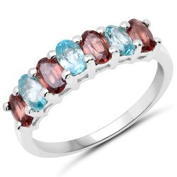 2.39 Carat Genuine Rassberry Zircon and Blue Zircon .925 Sterling Silver Ring