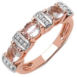 14K Rose Gold Plated 0.97 Carat Genuine White Diamond & Morganite .925 Sterling Silver Ring