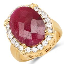 18K Yellow Gold Plated 11.68 Carat Dyed Ruby and White Topaz .925 Sterling Silver Ring
